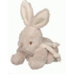 Peluche Félix lapin BUKOWSKI beige écharpe blanche allongé 20 cm