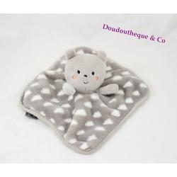 Doudou plat ours ORCHESTRA gris nuage blanc Prémaman carré 22 cm