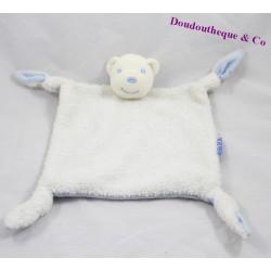 Doudou plat ours KALOO Lagon blanc bleu noeud 23 cm