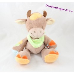 Cow towel NATTOU Little Garden brown orange scarf green 24 cm
