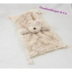 Doudou plat ours MAMAS AND PAPAS beige rectangle 33 cm