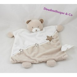 Doudou Plat Ours KIMBALOO Blanc et Taupe Broderie Etoile