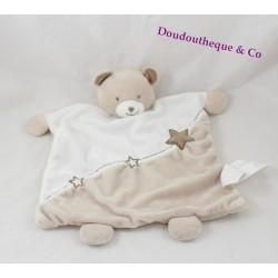 Doudou plat ours KIMBALOO étoiles beige blanc 30 cm