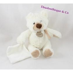 Doudou peluche Ours BABY NAT blanc avec mouchoir foulard beige BN941