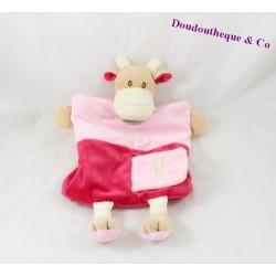 Doudou marionnette vache BABY NAT Alphabet V comme ...  30 cm