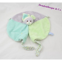 Flat Doudou mouse gray green round GIPSY 30 cm