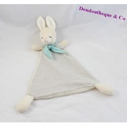 Doudou plat lapin H&M triangle rayé gris blanc foulard bleu H et M 35 cm