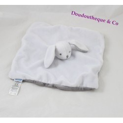 Doudou flat grey white JACADI rabbit square 24 cm