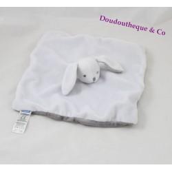 Doudou plat lapin JACADI blanc gris carré 24 cm