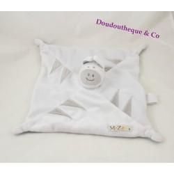 Doudou plat Mr zébre LES CHATOUNETS blanc gris attache tétine 26 cm