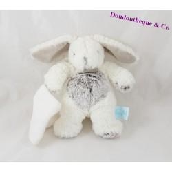 Doudou mouchoir lapin BABY NAT' Les Flocons blanc gris BN664 20 cm