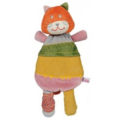 Doudou plat chat LATITUDE ENFANT orange vert rose 28 cm