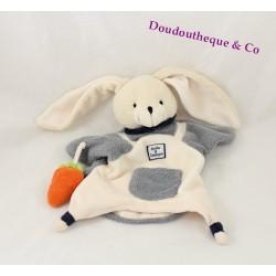 Doudou marionnette lapin DOUDOU ET COMPAGNIE gris blanc et sa carotte