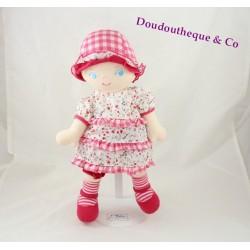 Poupée chiffon COROLLE robe fleuris chapeau vichy 2007 32 cm