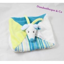 Doudou plat souris HAPPY HORSE bleu blanc jaune carré