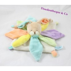 BABY NAT rabbit flat comforter 'My rabbit rainbow petals green yellow blue mauve