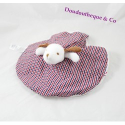 Doudou flat reversible dog and bear white tiles round JACADI vichy