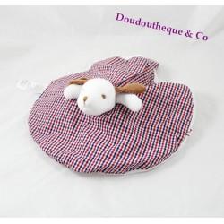 Doudou plat réversible chien et ours JACADI rond blanc carreaux vichy