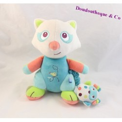 Doudou musical panda SUCRE D'ORGE bleu oiseau 22 cm
