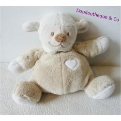 Doudou semi plat Noa Mouton NATTOU grelot beige et blanc coeur 18 cm
