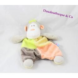 Doudou plat singe SUCRE D'ORGE multicolore ouistiti marron vert jaune orange 24 cm