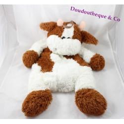 Peluche range pyjama vache marron blanc 63 cm