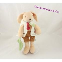 Baby comforter rabbit DOUDOU ET COMPAGNIE beige brown green leaf 27 cm