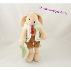 Doudou Pim rabbit DOUDOU AND COMPAGNIE beige brown green leaf 27 cm