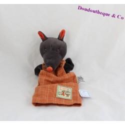 Doudou marionnette loup MOULIN ROTY La Grande Famille orange 27 cm