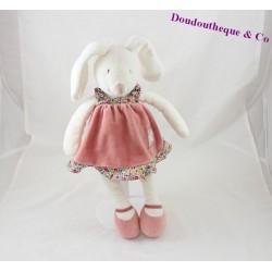 Doudou lapin MOULIN ROTY Myrtille et Capucine robe rose 34 cm