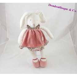 Rabbit comforter MOULIN ROTY Bilberry and Capucine pink dress 34 cm