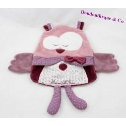 Doudou Mam'zelle Bou SAUTHON chouette rose violet 30 cm