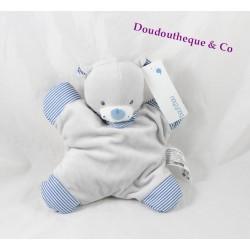 Doudou semi plat ours BOUT'CHOU Monoprix gris rayé bleu grelot