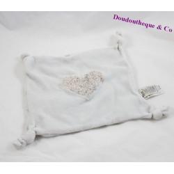 Doudou plat coeur TEX fleurs gris noeuds 20 cm