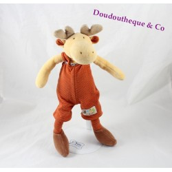 Plush Adam Elan MOULIN ROTY The Loupiots overalls orange 32 cm