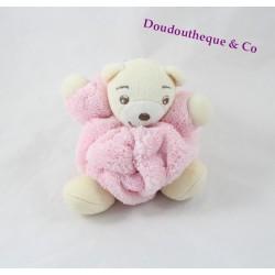 Mini doudou ours KALOO rose Plume attache tétine 11 cm