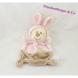 Doudou plat ours GRAIN DE BLÉ déguisé en lapin rose beige 21 cm