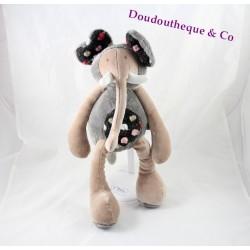 Peluche Baou éléphant MOULIN ROTY Les Zazous gris beige 33 cm