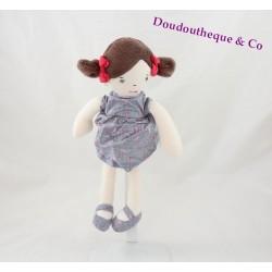 Doudou poupée OBAIBI fillette robe grise plume brune 27 cm