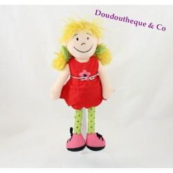 Doudou poupée JELLYCAT blonde robe rouge fleur jambes verte 27 cm