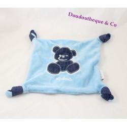 Doudou plat ours KALOO Blue Denim noeuds bleu jean 20 cm