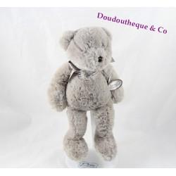 Doudou peluche Florian ours DIMPEL gris beige 27 cm