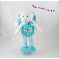 Plush rabbit MOTS D'ENFANTS blue fox owl Leclerc 23 cm