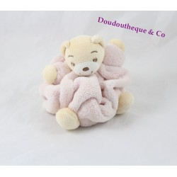 Mini doudou ours KALOO Plume rose attache tétine 11 cm