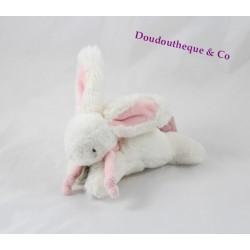 Mini doudou lapin bonbon DOUDOU ET COMPAGNIE blanc rose 15 cm
