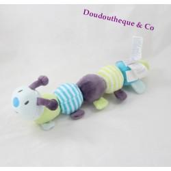 Peluche chenille OBAIBI jouet d'éveil grelot pouet 30 cm