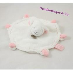 Doudou plat Agneau DOUDOU ET COMPAGNIE Mouton blanc rose Mon tout petit