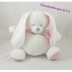 Doudou lapin TEX BABY blanc rose écharpe pois gris 22 cm
