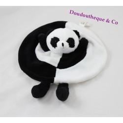Doudou plat panda ZOOPARC BEAUVAL noir et blanc rond 28 cm