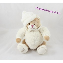 Peluche ours BUKOWSKI Ivo blanc crème assis bonnet 23 cm